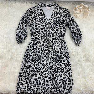 Merona Leopard Print Tie Waist Shirt Dress Size XS
